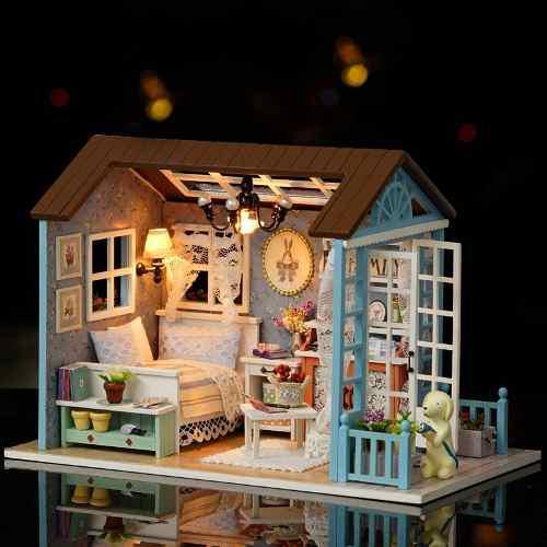 Casa De Muñecas De Madera En Miniatura Con Luz Led Y