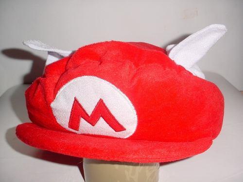 Gorro Mario Bros De Peluche Con Alas Logo Bordado