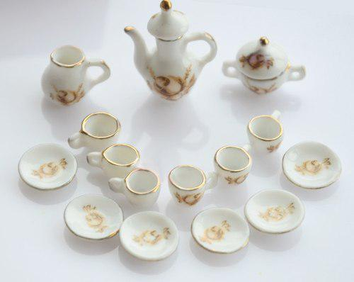 Hermoso Juego De Te Miniatura Porcelana Fina M Golden 15 P