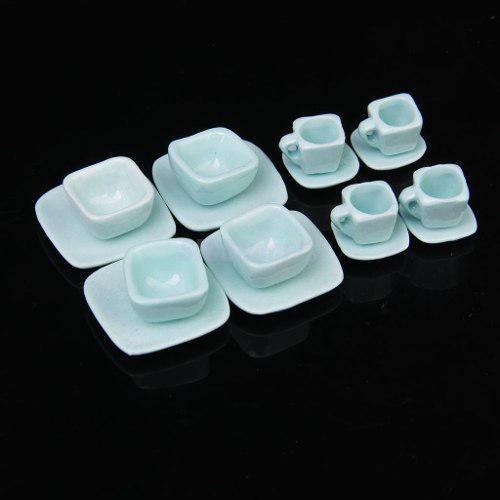 Hermoso Juego De Te Miniatura Porcelana Fina Modern Blue