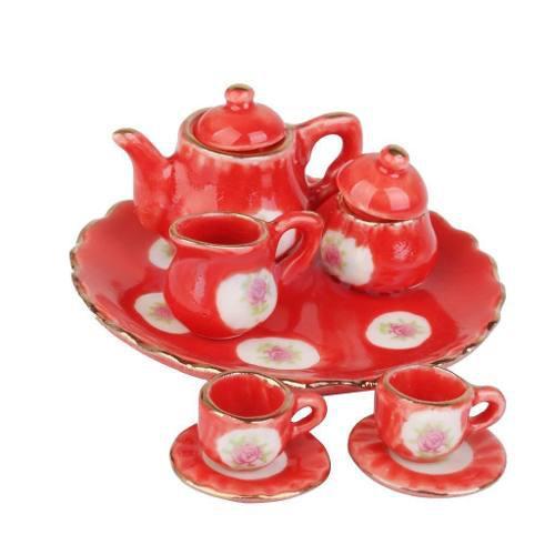 Hermoso Juego De Te Miniatura Porcelana Russian Red Deliciou