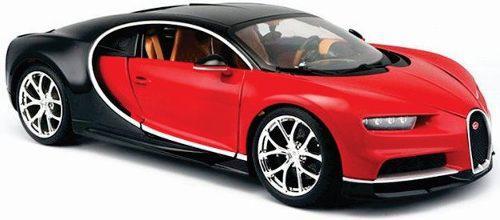 Maisto 1/18 Bugatti Chiron Rojo Metal Diecast Nuevo En Caja