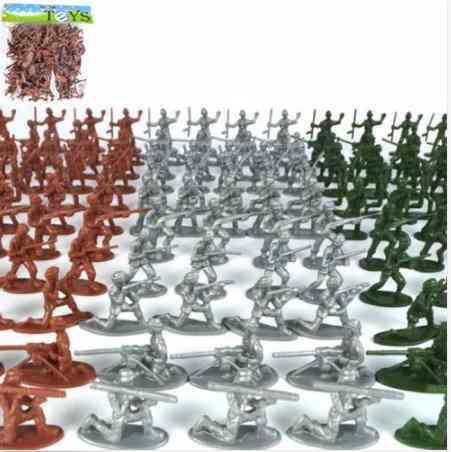 Set De 100 Piezas Soldados 4 Cm Plastico 12 Poses Verdes