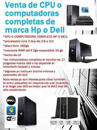 Cpu O Computadora Hp Dell Core 2 Duo Dd3