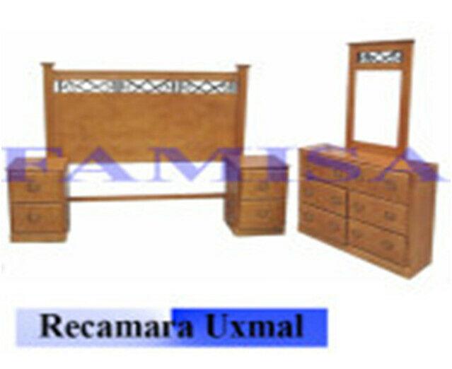 RECAMARA MATRIMONIAL MOD. UXMAL JUEGO C/ 5 PIEZAS 100 MADERA