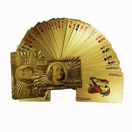 100 Dolares Baraja De Cartas En Oro Poker Blackjack Naipes