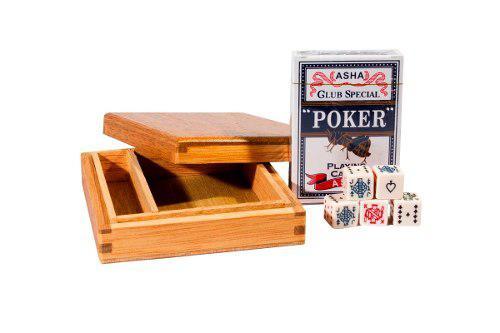 Caja De Madera Con 1 Baraja Y 5 Dados De Poker