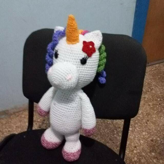 Hermoso Unicorno tejido en crochet