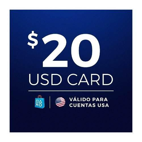 Psn Card 20 Usd Usa Store Ps3 Ps4 Psp Go/vita Envio Gratis