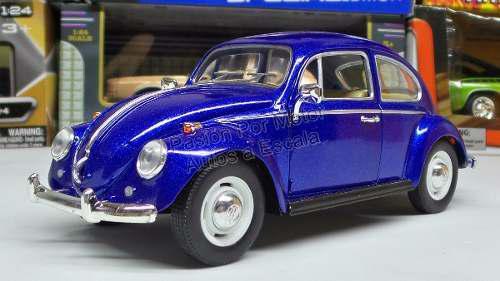 1:24 Volkswagen Beetle 1967 Azul Kinsmart Vocho Display