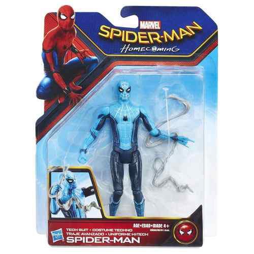 Figura Spiderman Homecoming Tech Suit Traje Avanzado Azul