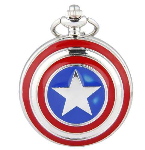 Genial Reloj De Bolsillo Del Capitan America Pocket Watch
