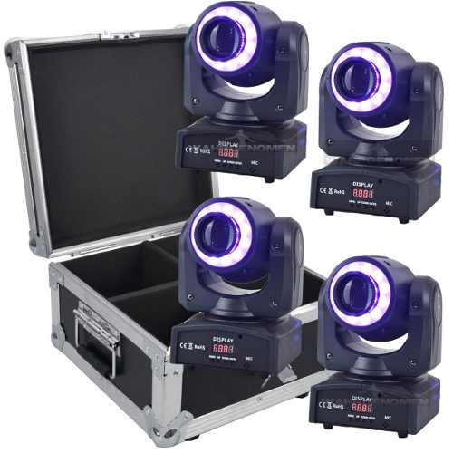 Set 4 Cabeza Movil Spot Led 60w Disco Dmx Robotica Con Case