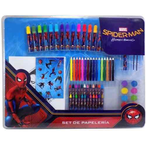 Set De Papelería Spiderman Estuche Para Dibujar, 80 Piezas