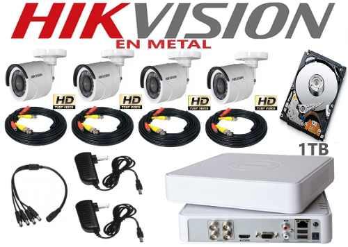 Kit Video Vigilancia 4 Cámaras Hd 720p Metal Hikvision 1 Tb