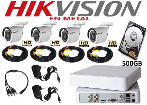 Kit Video Vigilancia 4 Cámaras Hd 720p Metal Hikvision