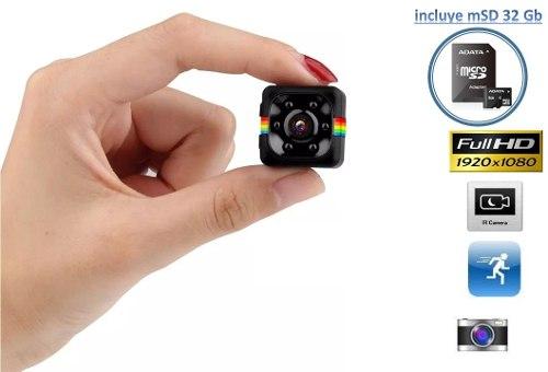 Mini Camara Espia Sq11 Incluye 32 Gb Full Hd Det.movi. V.noc
