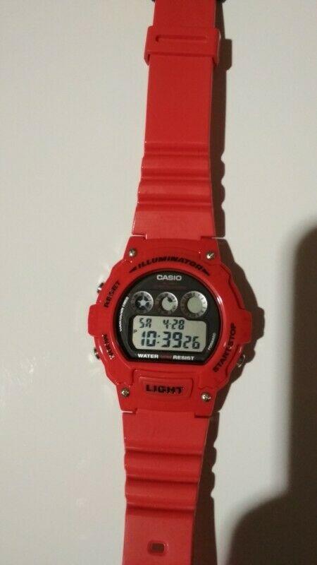 Reloj Casio W214hc Rojo Original Cronografo Alarma