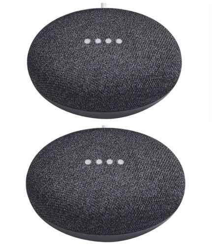 2 Piezas Google Paquete Home Mini Color Gris Oscuro Nuevos