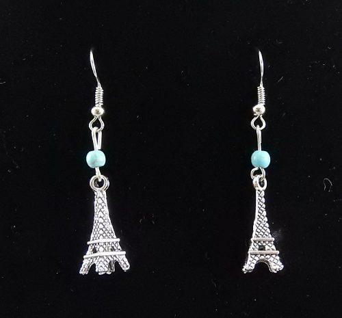 1 Par De Aretes De Fantasía Largo, Torre Eiffel Turquesa