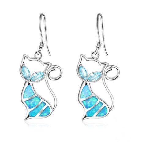 Aretes De Gato Opal Azul De 2 Cm Estuche Y Envio Gratis