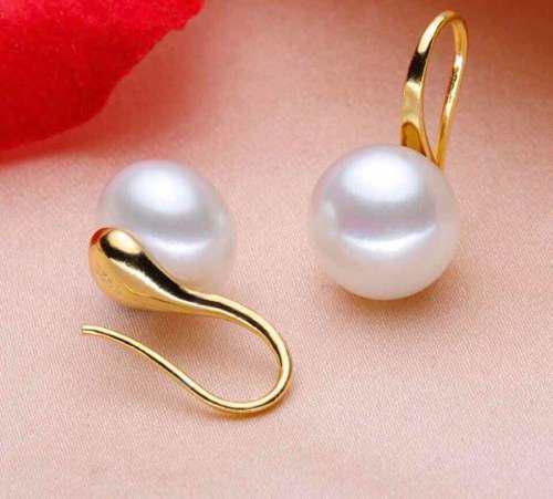 Aretes De Perla Oro Láminado En Estuche.