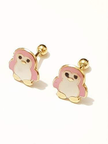 Aretes De Pinguino Rosa De Oro Laminado Envio Gratis