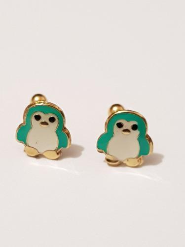 Aretes De Pinguino Verde De Oro Laminado Envio Gratis