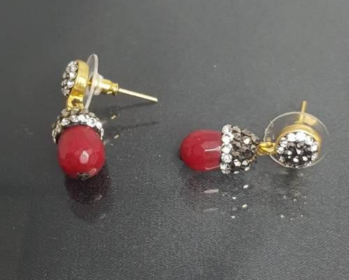 Aretes Oro Laminado Turco Con Granate Y Cristales