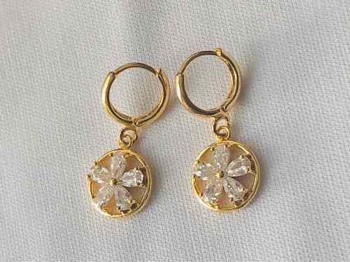 Arracadas De Oro 18k Lam. Con Zirconia-diamante Envio Gratis