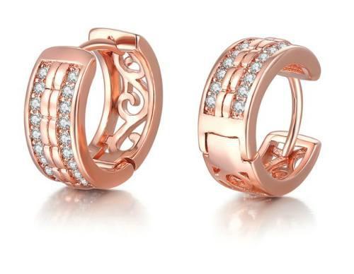 Arracadas Hugies Oro Rosa Laminado Con Cristales Envio Grati
