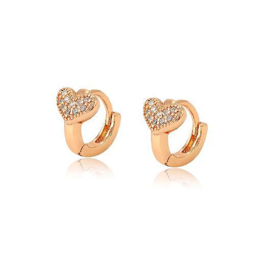 Arracadas Oro 18k Lam Niña Corazón C/zirconias Diamante