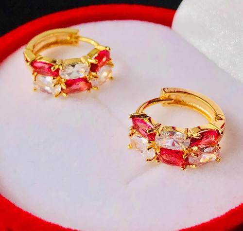 Arracadas Rosas Oro Lam. Zirconias Tipo Diamante Oferta.