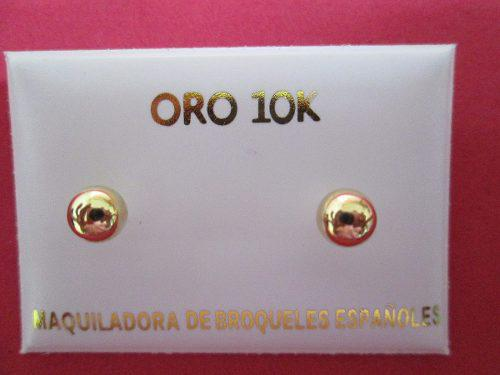 Broqueles Bola 7 Mm. Oro Solido 10 Kilates. Dormilon