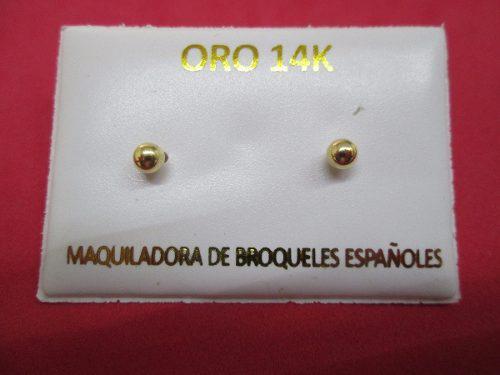 Broqueles Dormilones Bola Lisa 4 Mm Oro Sólido 14 Kilates