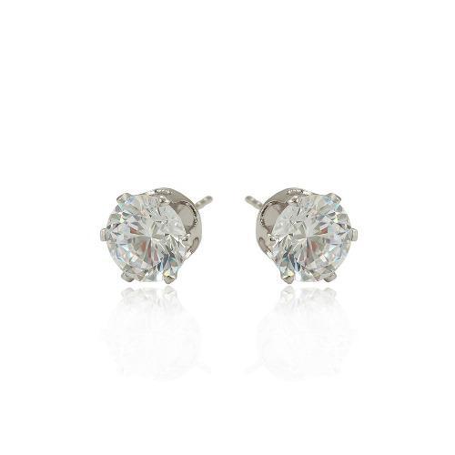 Broqueles Oro Blanco 14k Lam Con Zirconias Corte Diamante