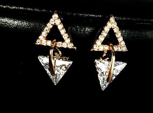 Finos Aretes De Oro Con Zirconia Diamante Y Brillantes.