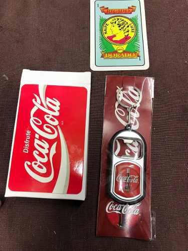 Coca Cola Llavero Destapador Y Lámpara Y Juego De Cartas