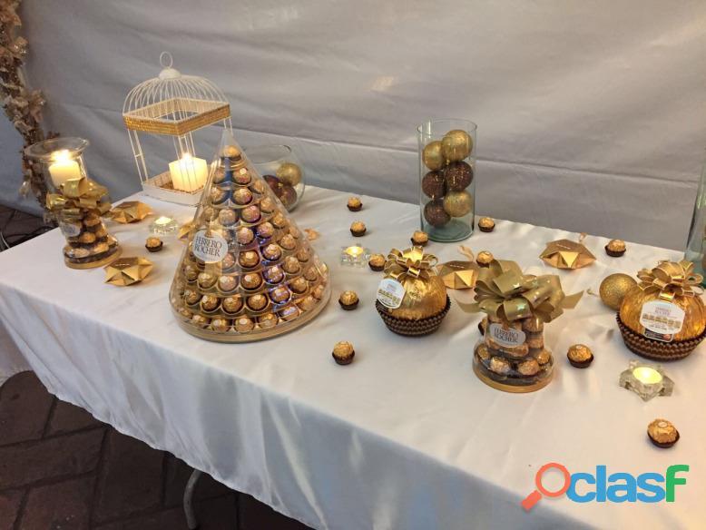 Dilo con amor elegante mesa de chocolates para tu fiesta