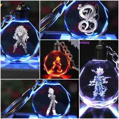 Llavero Dragon Ball Z Super Luz Led De Cristal Goku Ssj 12 3