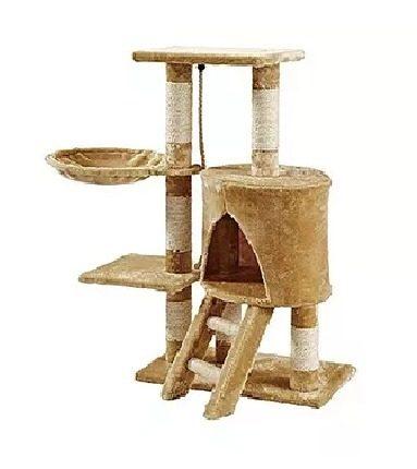 Mueble Rascador Para Gato Con Casa Y Hamaca 96 Cm