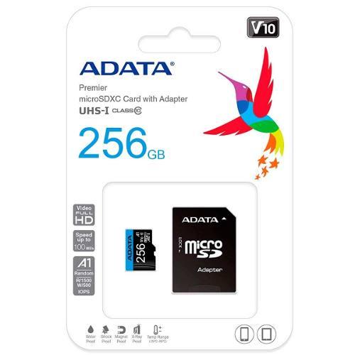 Memoria Micro Sd 256gb Adata Clase 10 A1 Ausdx256guicl10a1