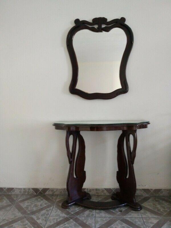 Consoleta con espejo y cubierta de cristal templado