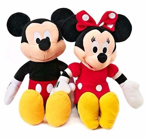 Peluche Mickey Y Minnie Mouse, Mini Bean Bag, 23cm C/u