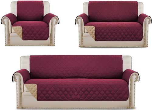 Protector Cubre Sofa Sillon Guinda (3,2,1 Plazas)- 3 Pz