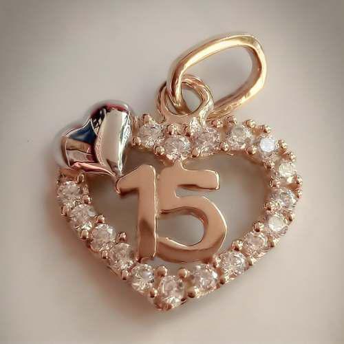 7357619e6c65 Amor eterno - xv años   dije+cadena   corazón oro 10k