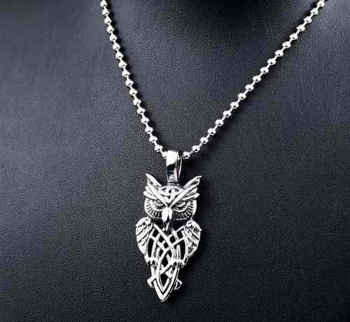 Búho Vikingo Nórdico Celta Amuleto Dije Collar Acero Inox