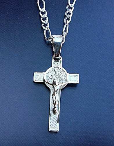 Cadena 60cm Y Cruz De San Benito Crucifijo En Plata.925