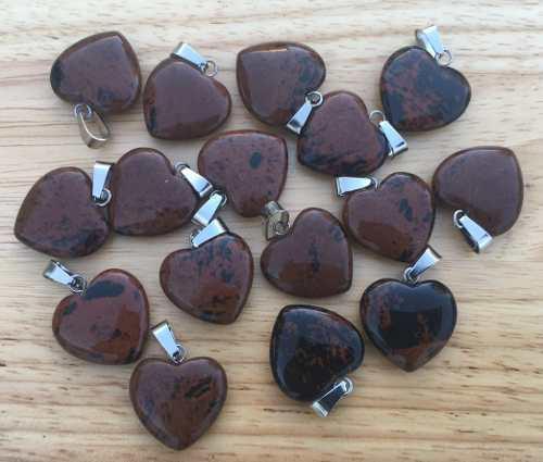 Corazón Obsidiana Caoba Natural Dije Unisex Tamaño 2cmx2cm