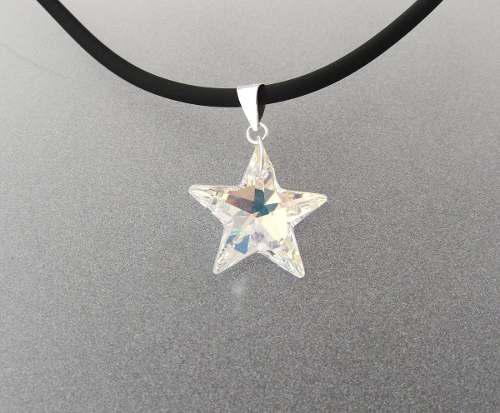 Dije De Estrella De Cristal Y Plata Ley 0.925